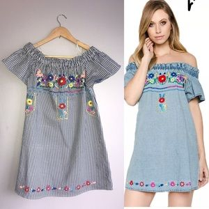 Karlie Denim Embroidered Dress